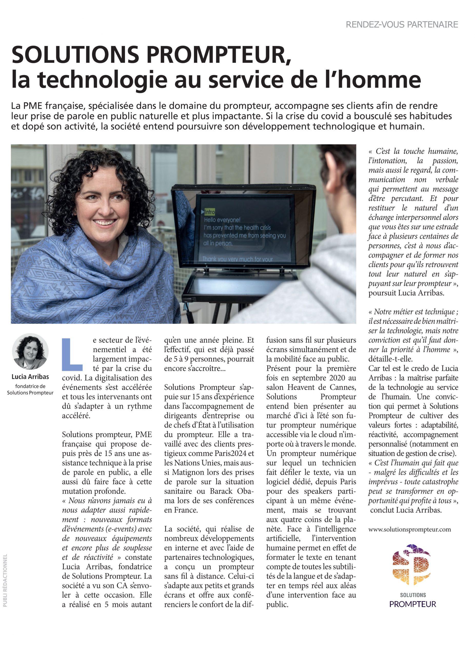 Solutions Prompteur dans Stratégies Magazine